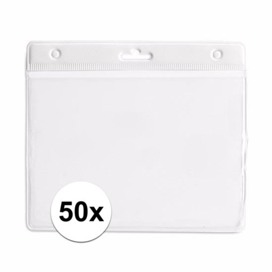 50 badgehouders wit 11,5 x 9,5 cm