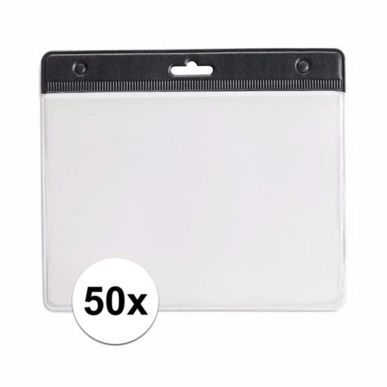 50 badgehouders zwart 11,5 x 9,5 cm