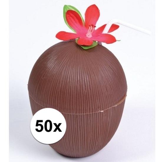 50x Hawaii thema kokosnoot drinkbekers