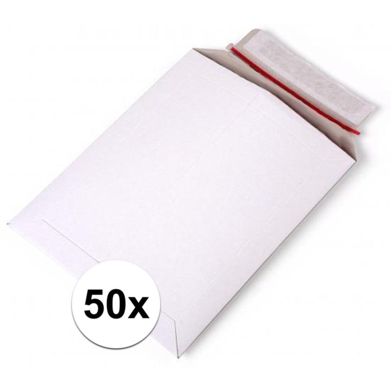 50x Kartonnen enveloppen wit A4 29 x 21 cm