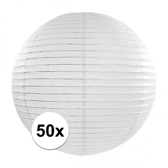 50x Luxe witte bol lampionnen van 35 cm