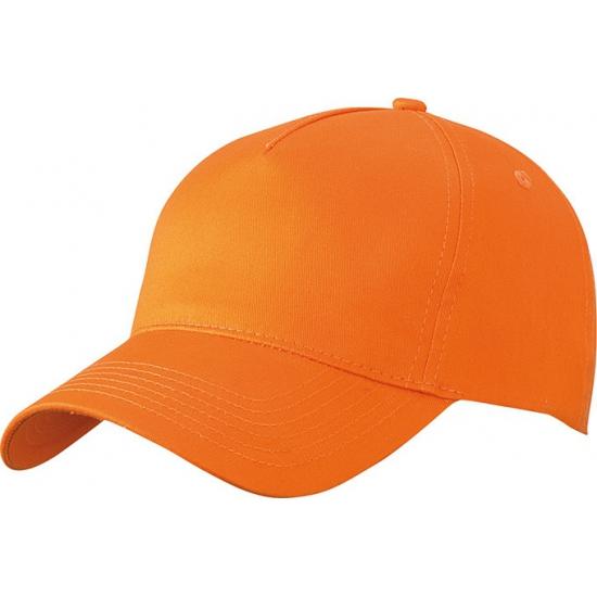 50x stuks 5-panel baseball petjes /caps in de kleur oranje