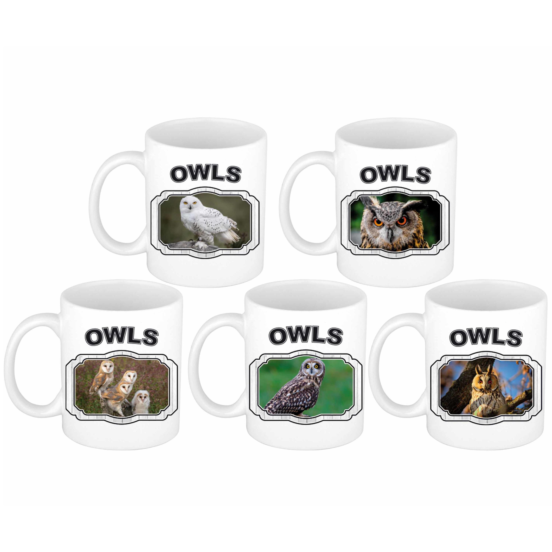 5x Dieren vogels Uilen prints drink mokken 300 ml