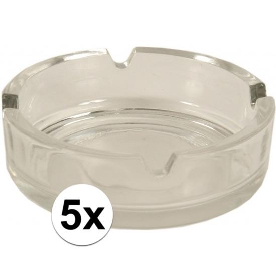 5x Glazen asbakken 10.5 cm