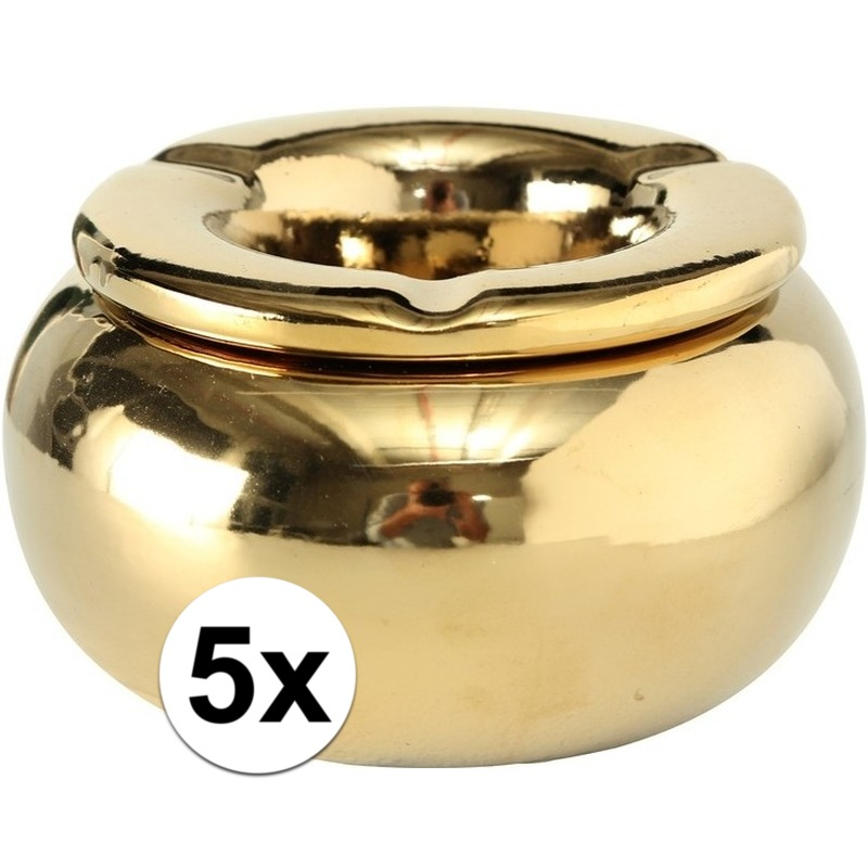 5x Gouden terras asbakken/storm asbakken 14 cm