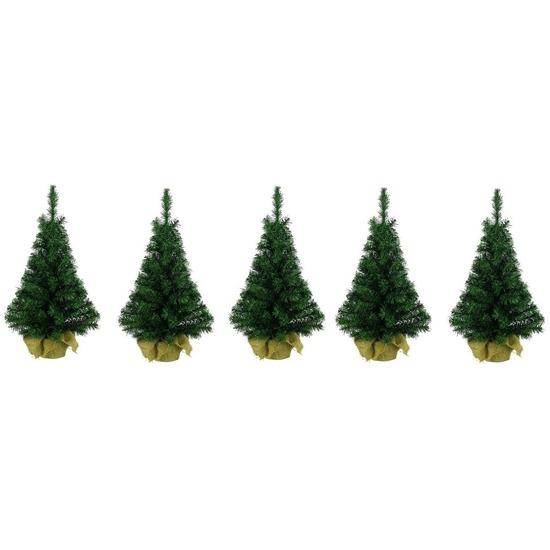 5x Kleine kerstboom in jute zak 75 cm