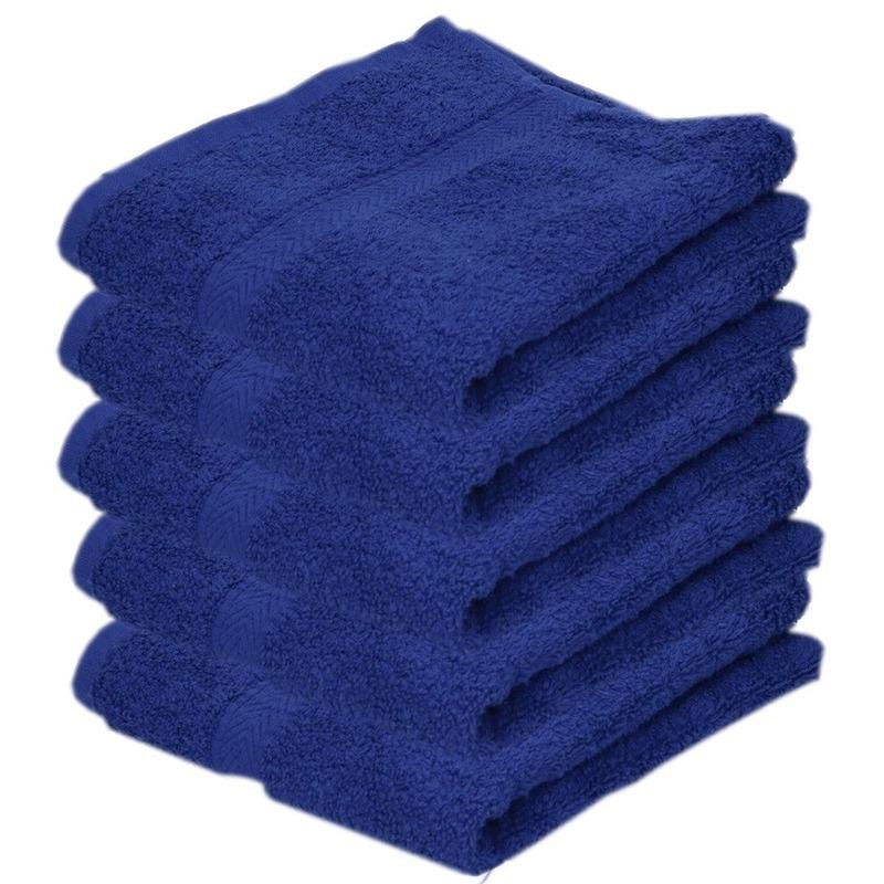 5x Luxe handdoeken blauw 50 x 90 cm 550 grams