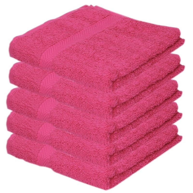 5x Luxe handdoeken fuchsia roze 50 x 90 cm 550 grams