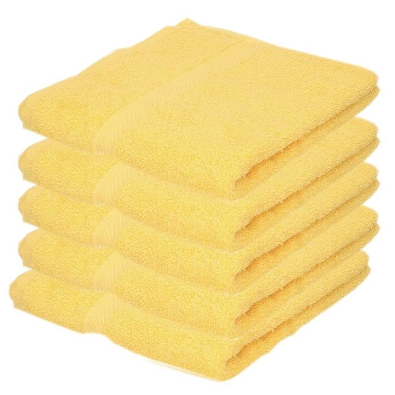 5x Luxe handdoeken geel 50 x 90 cm 550 grams