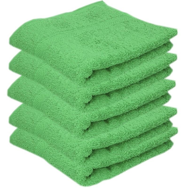 5x Luxe handdoeken groen 50 x 90 cm 550 grams