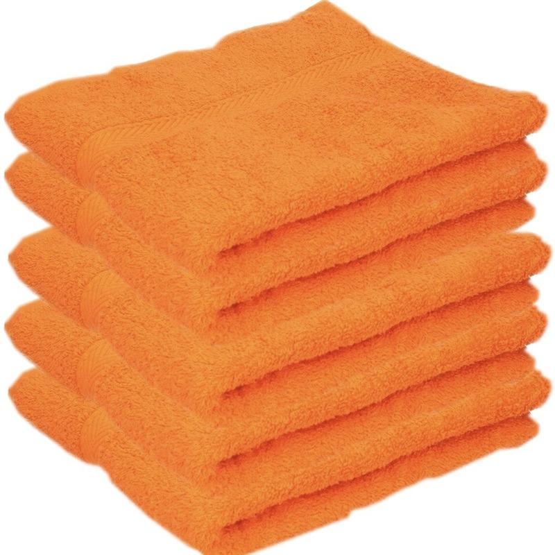 5x Luxe handdoeken oranje 50 x 90 cm 550 grams