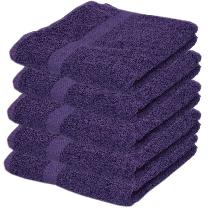 5x Luxe handdoeken paars 50 x 90 cm 550 grams