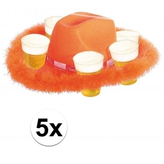 5x Oranje bier hoeden met bont