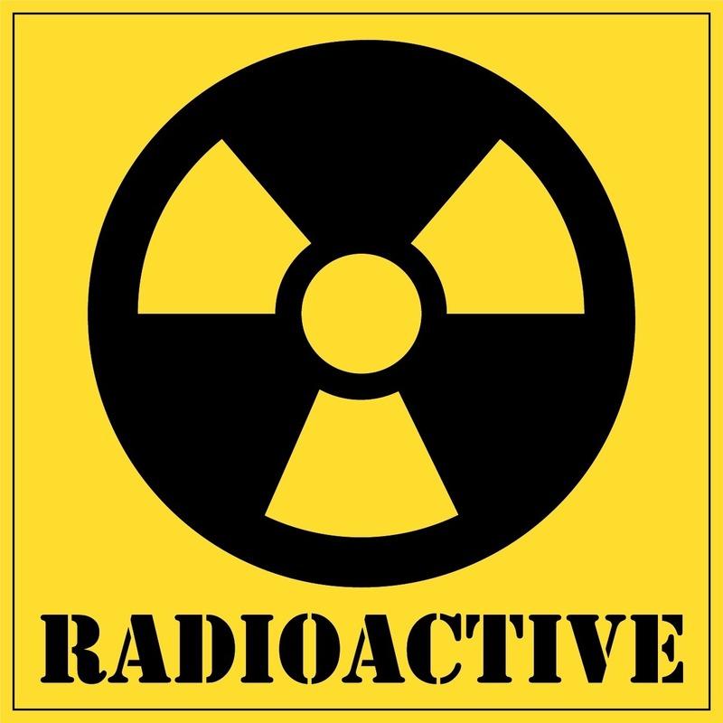 5x Radioactive gevaren sticker 10,5 cm