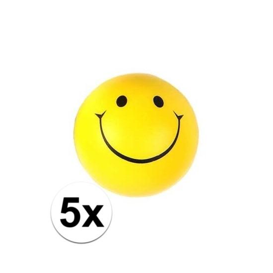 5x Smiley stressbal 6 cm
