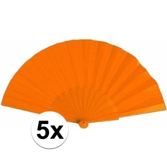 5x Spaanse handwaaiers oranje 23 cm