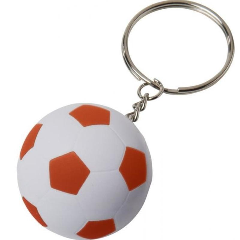 5x Stressbal sleutelhangers voetbal oranje/wit 4 cm