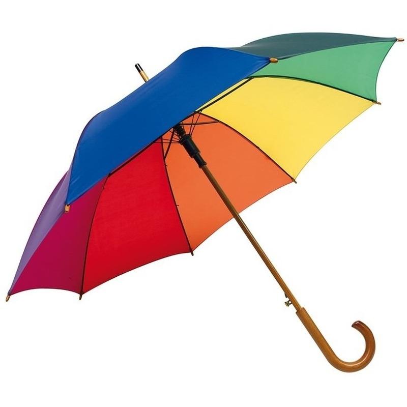 5x stuks luxe Regenboog paraplu met houten handvat 103 cm