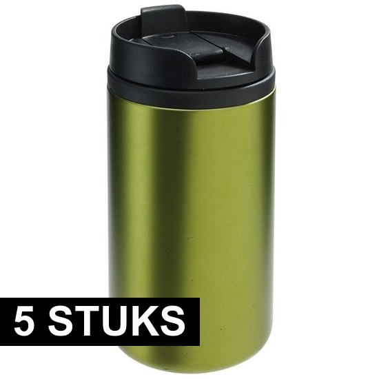 5x Thermosbekers-warmhoudbekers metallic groen 290 ml