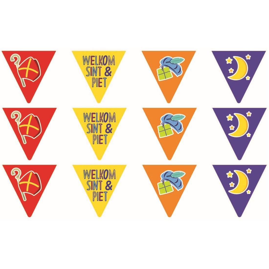 Merkloos 5x Vlaggenlijnen papier Sinterklaas Welkom Sint en Piet 6 meter feestversiering -