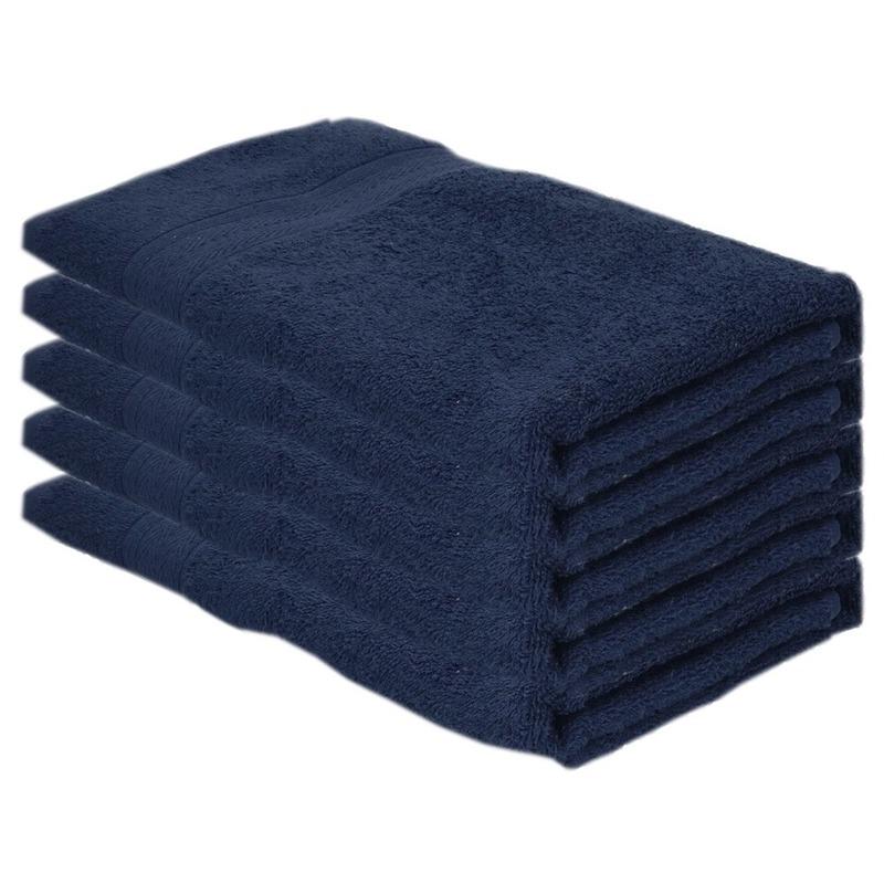 5x Voordelige badhanddoeken navy blauw 70 x 140 cm 420 grams