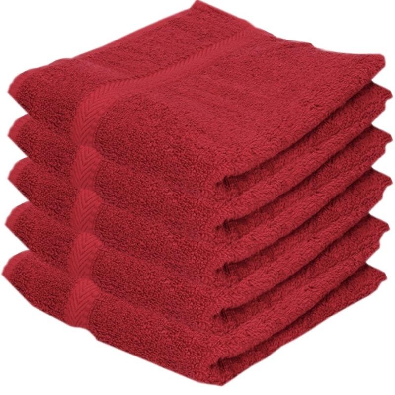 5x Voordelige badhanddoeken rood 70 x 140 cm 420 grams
