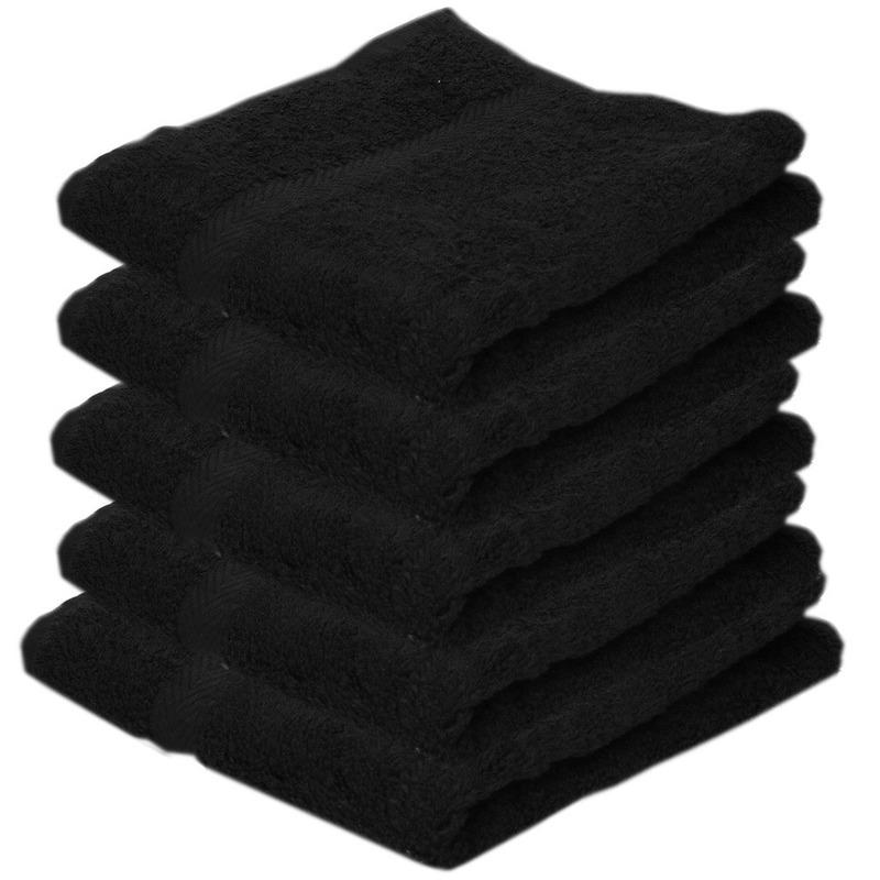 5x Voordelige badhanddoeken zwart 70 x 140 cm 420 grams