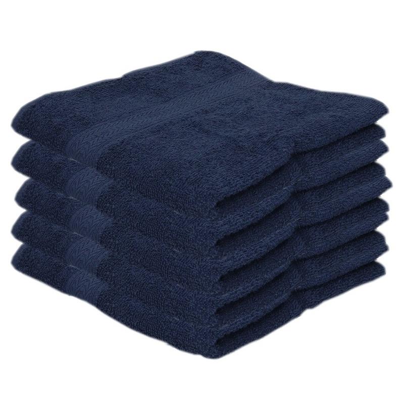 5x Voordelige handdoeken navy blauw 50 x 100 cm 420 grams