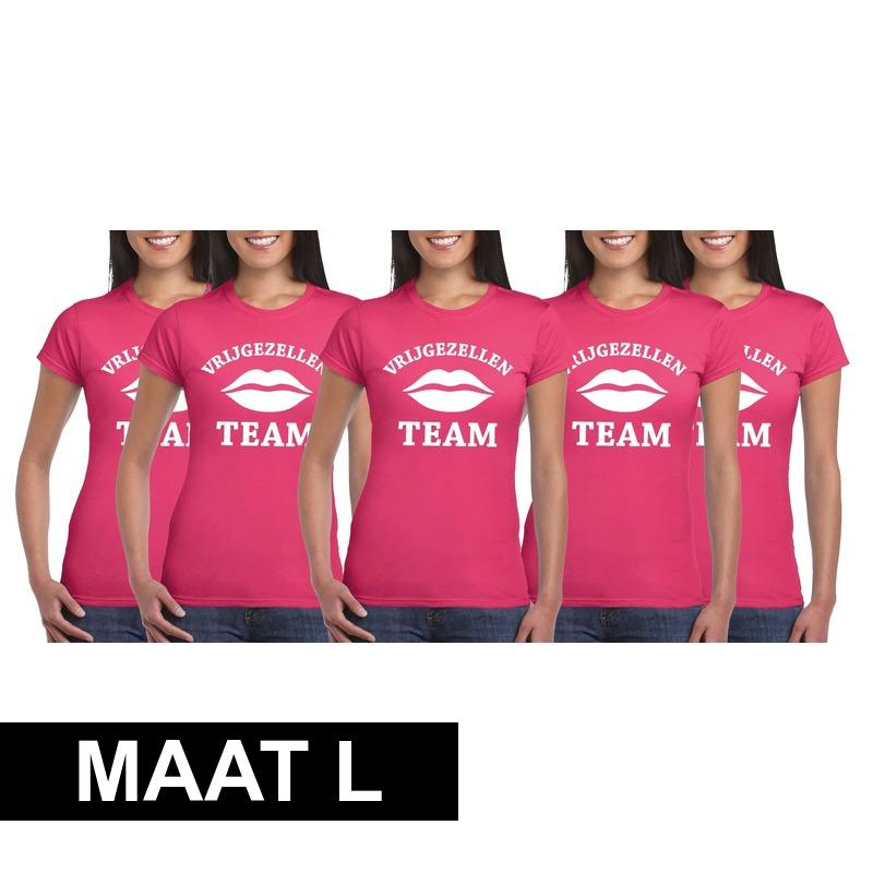 5x Vrijgezellenfeest Team t-shirt roze dames Maat L