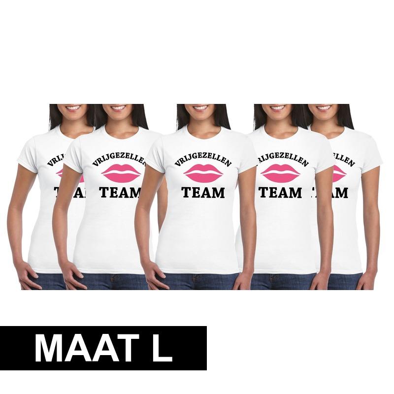 5x Vrijgezellenfeest Team t-shirt wit dames Maat L