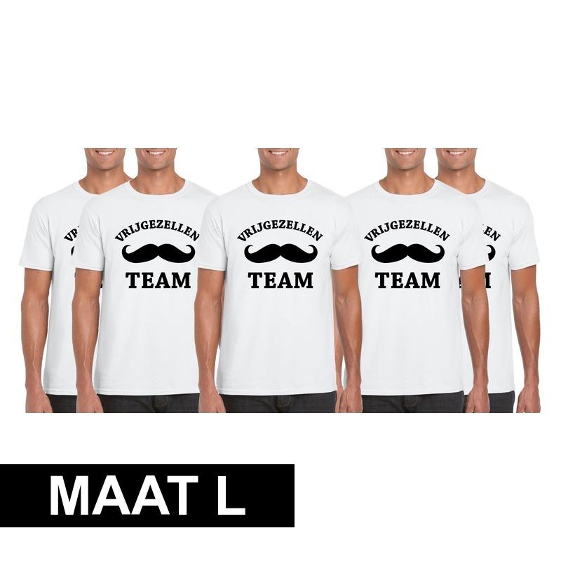 5x Vrijgezellenfeest Team t-shirt wit heren Maat L