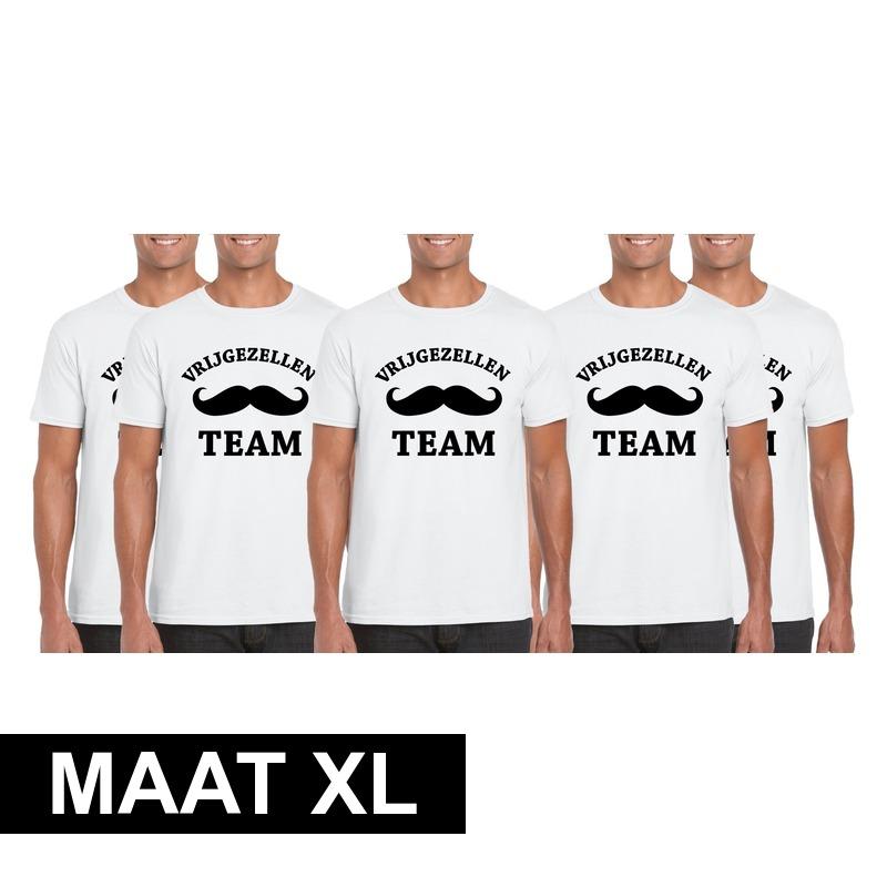 5x Vrijgezellenfeest Team t-shirt wit heren Maat XL