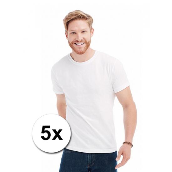 5x witte t-shirts ronde hals