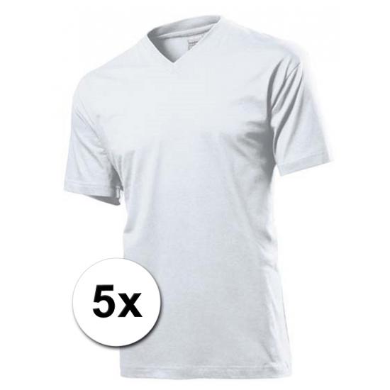 5x witte t-shirts v-hals