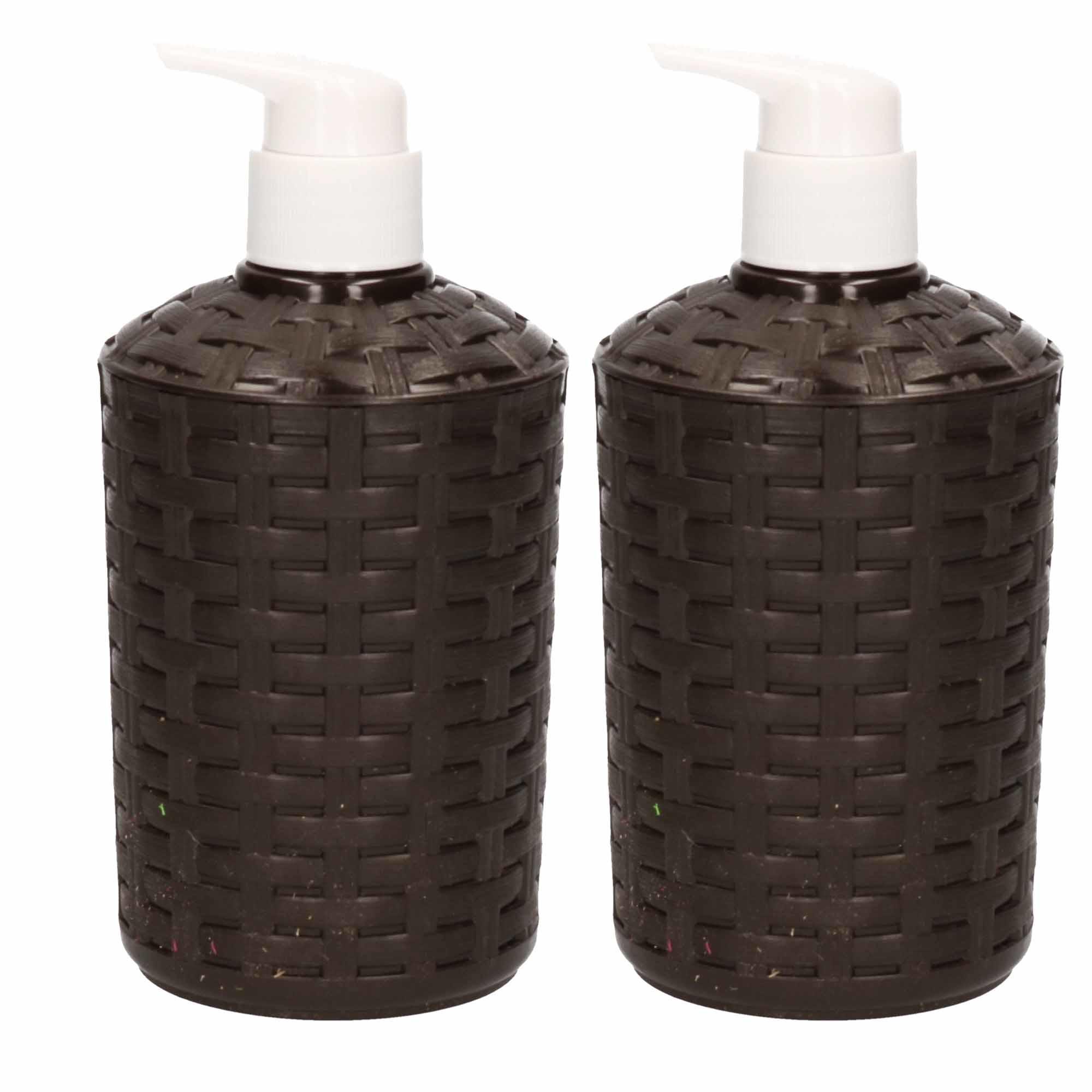 5x Zeep pompjes-dispensers zwart geweven 16 cm