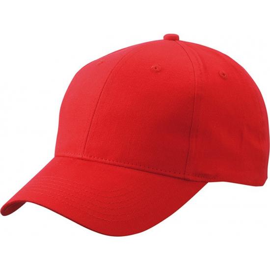 6 panel baseball cap rood