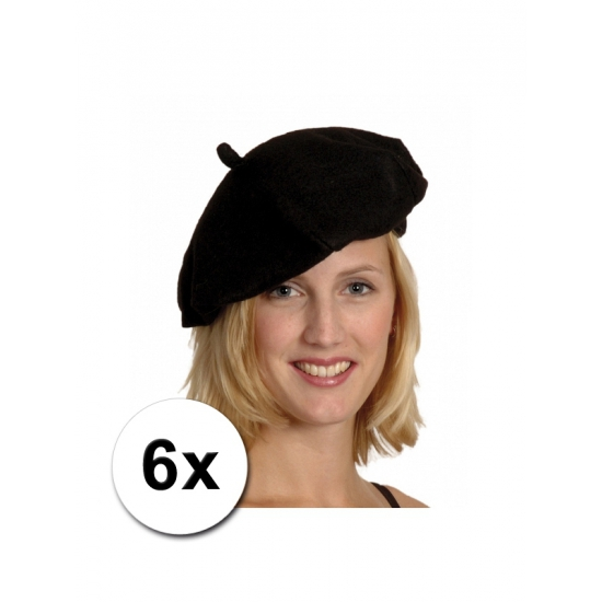 6 zwarte Franse baretten