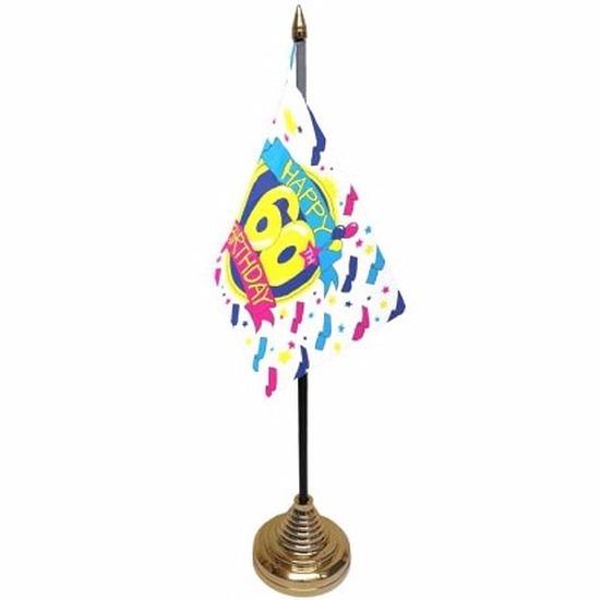 60ste verjaardag tafelvlaggetje 10 x 15 cm met standaard