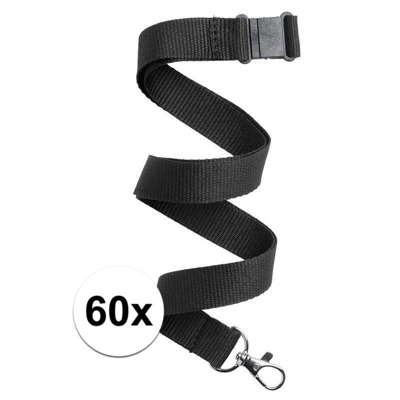 60x Keycord/lanyard zwart met sleutelhanger 50 cm
