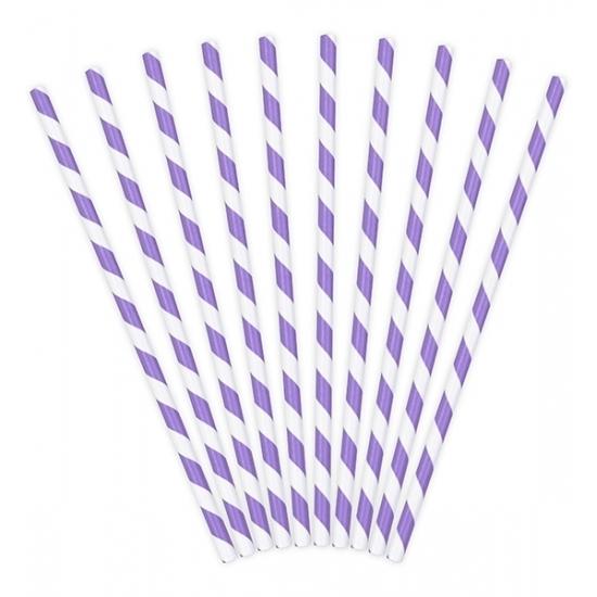 60x stuks gestreepte rietjes van papier lila paars/wit