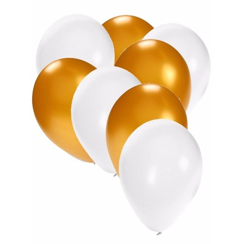60x stuks party ballonnen wit en goud 27 cm