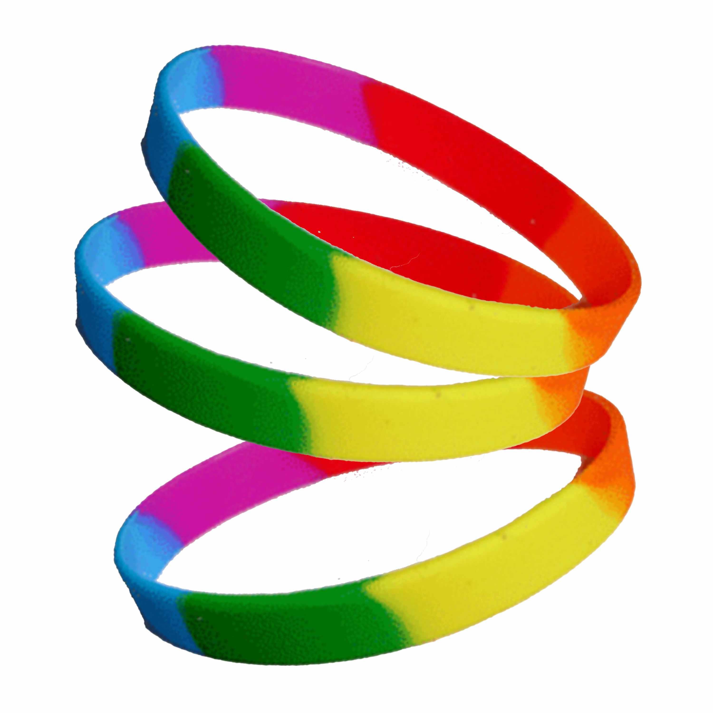 60x stuks siliconen armband regenboog kleuren