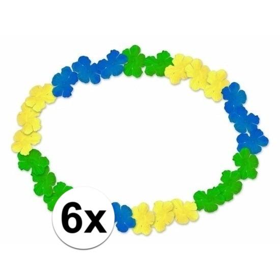 6x Braziliaanse Hawaii kransen blauw/geel/groen