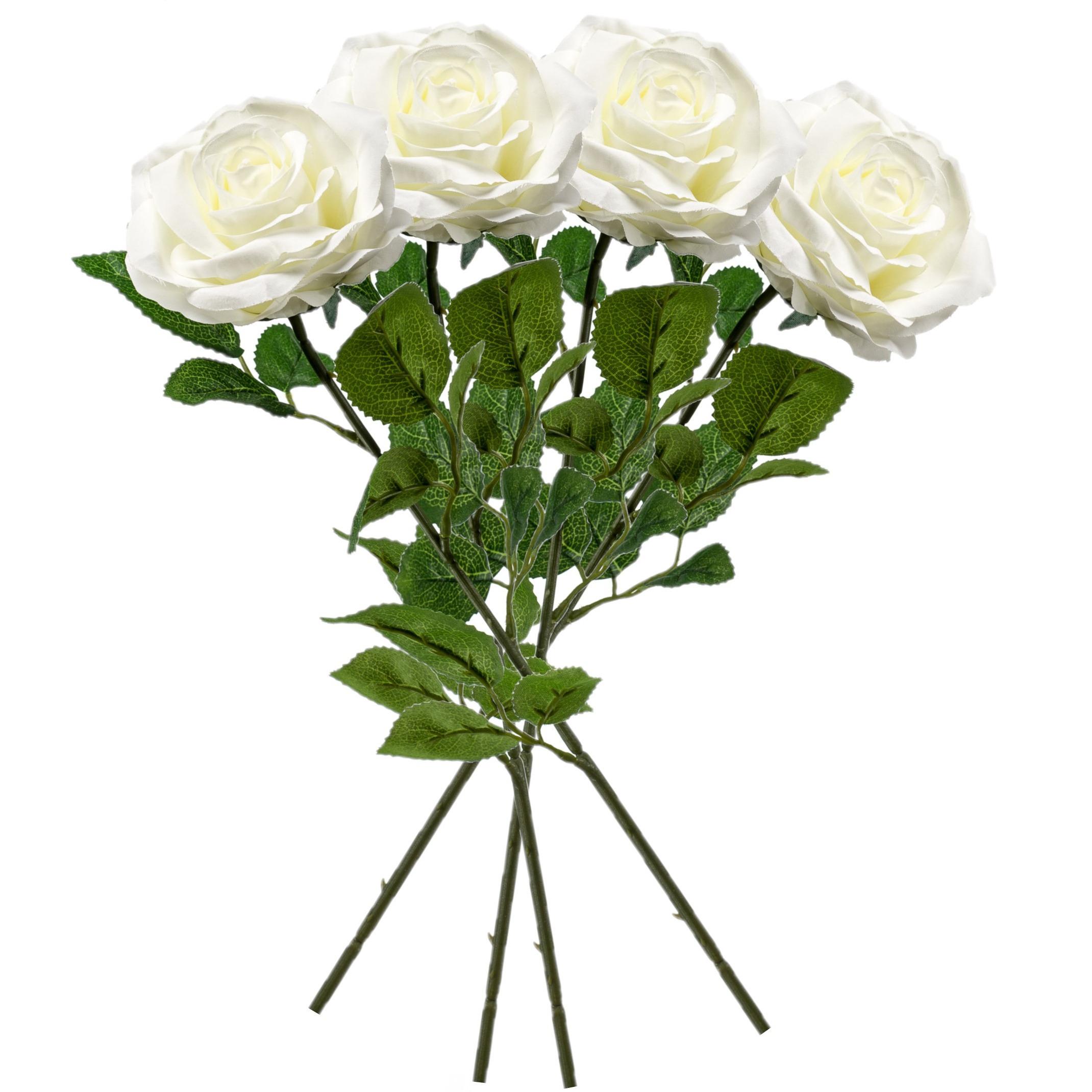 6x Creme rozen Marleen kunstbloemen 63 cm