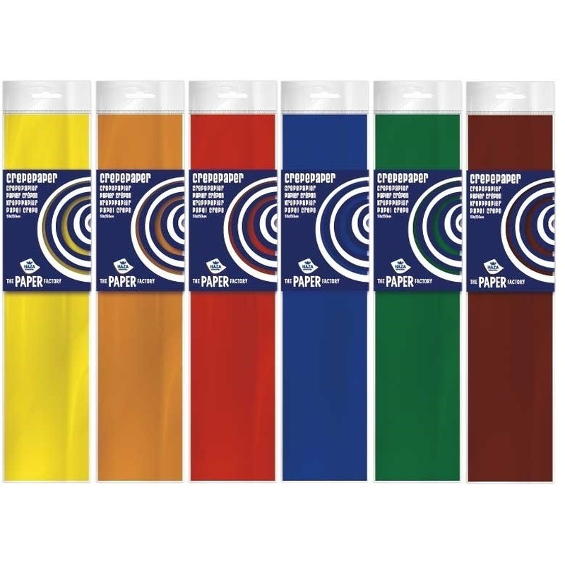 6x Crepe papier basis pakket 250 x 50 cm knutsel materiaal