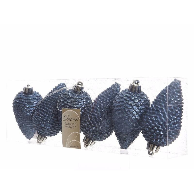 6x Donkerblauwe Dennenappels Kerstballen 8 Cm Kunststof Glitter