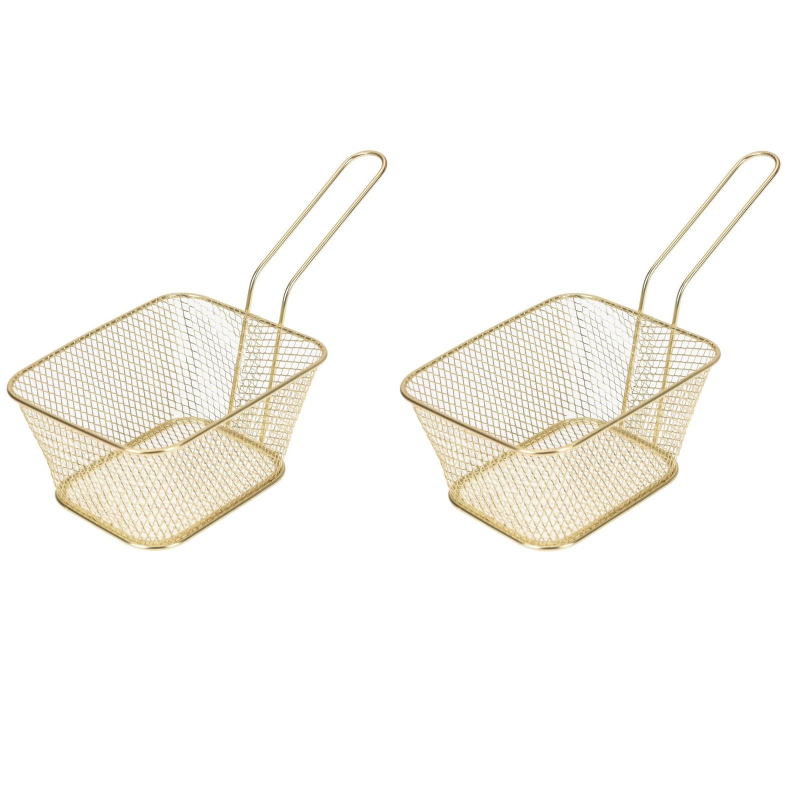 6x Gouden patat/snack serveermandjes/frituurmandjes 24 cm