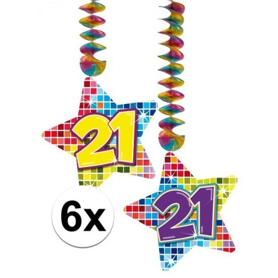 6x Hangdecoratie sterren 21 jaar