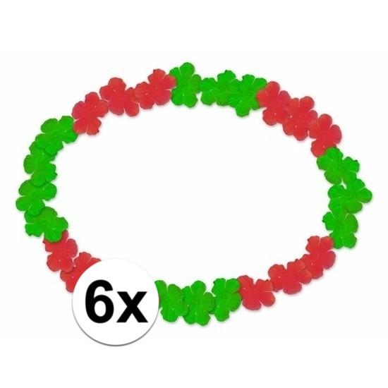 6x Hawaii kransen rood/groen