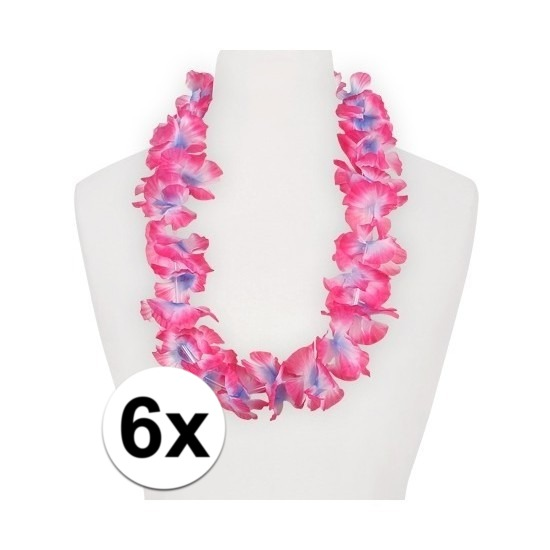 6x Hawaii kransen roze/paars